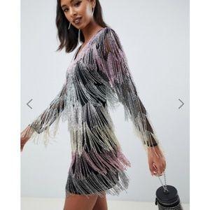 ASOS | mini dress in allover fringe embellishment